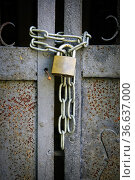 Old locked iron gate secured with a padlock and chain, seen close up. Редакционное фото, фотограф Taina Sohlman / age Fotostock / Фотобанк Лори