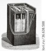 Pocket battery with three elements. Old 19th century engraved illustration... Редакционное фото, фотограф Jerónimo Alba / age Fotostock / Фотобанк Лори