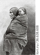 American Indian Native redskin woman with his son on his back at ... Редакционное фото, фотограф Jerónimo Alba / age Fotostock / Фотобанк Лори