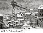 Katarinahissen elevator in Stockholm in 1884, Sweden. Europe. Old... Редакционное фото, фотограф Jerónimo Alba / age Fotostock / Фотобанк Лори