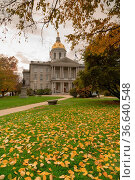 Fall leaves on the lawn at the State Capital Building of New Hampshire... Стоковое фото, фотограф Zoonar.com/Christopher Boswell / easy Fotostock / Фотобанк Лори