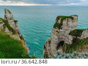 Natural cliffs on Alabaster coast Normandy in Etretat, France. Стоковое фото, фотограф Zoonar.com/Boris Breytman / easy Fotostock / Фотобанк Лори