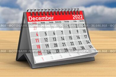 2022 year. Calendar for December. 3D illustration