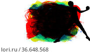 Silhouette of female handball player against multicolor paint brush strokes on white background. Стоковое фото, агентство Wavebreak Media / Фотобанк Лори