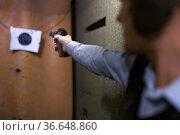 Male arm with smallbore sporting pistol aiming at bullseye target. Стоковое фото, фотограф Яков Филимонов / Фотобанк Лори