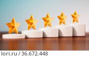 Five stars rating on the table. 3D illustration. Стоковое фото, фотограф Zoonar.com/Cigdem Simsek / easy Fotostock / Фотобанк Лори