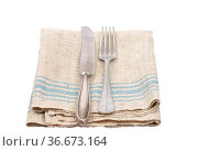Antikes Essbesteck auf Leinetuch - Ancient cutlery on linen. Стоковое фото, фотограф Zoonar.com/lantapix / easy Fotostock / Фотобанк Лори