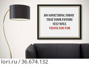 Inspirational motivating quote on picture frame. Стоковое фото, фотограф Zoonar.com/Roberto Rizzo / easy Fotostock / Фотобанк Лори