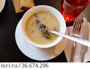 Popular dish of Russian cuisine is mushroom soup. Стоковое фото, фотограф Яков Филимонов / Фотобанк Лори