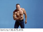 Athlete with muscular body shows biceps in studio. Стоковое фото, фотограф Tryapitsyn Sergiy / Фотобанк Лори