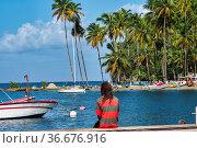 Marigot Bay in St Lucia. Marigot Bay is located on the west coast... Стоковое фото, фотограф Zoonar.com/Rudolf Ernst / age Fotostock / Фотобанк Лори