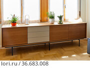 Wooden furniture, sideboard, Living room, Home interior, Interior... Стоковое фото, фотограф Javier Larrea / age Fotostock / Фотобанк Лори