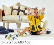 Child 1-2 years, Baby, Sailor accessories, Studio photography. Стоковое фото, фотограф Javier Larrea / age Fotostock / Фотобанк Лори
