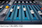 Professional digital studio equalizer with push buttons. 3D illustration... Стоковое фото, фотограф Zoonar.com/Cigdem Simsek / easy Fotostock / Фотобанк Лори