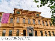 Stockholm, Sweden - August 8, 2019: Exterior view of National Library... Стоковое фото, фотограф Zoonar.com/@jjfarquitectos / age Fotostock / Фотобанк Лори