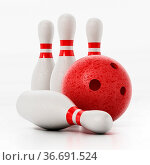 Bowling pins and red bowling ball isolated on white background. 3D... Стоковое фото, фотограф Zoonar.com/Cigdem Simsek / easy Fotostock / Фотобанк Лори