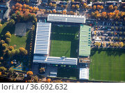 Freiburg, Germany - October 22, 2016: Aerial view of the soccer stadium... Стоковое фото, фотограф Zoonar.com/Oliver Foerstner / easy Fotostock / Фотобанк Лори