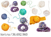 Set of various skeins isolated on white background. Стоковое фото, фотограф Zoonar.com/Valery Voennyy / easy Fotostock / Фотобанк Лори