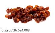 handful of sultana raisins isolated on white background. Стоковое фото, фотограф Tamara Kulikova / Фотобанк Лори