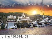 Motor yachts moored at the pier. Стоковое фото, фотограф Юрий Бизгаймер / Фотобанк Лори
