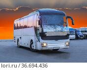 Modern tourist bus on asphalt. Стоковое фото, фотограф Юрий Бизгаймер / Фотобанк Лори