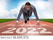 Businessman running to the 2022 year. Стоковое фото, фотограф Elnur / Фотобанк Лори