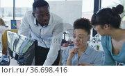 Team working on computer at the office. Стоковое видео, агентство Wavebreak Media / Фотобанк Лори