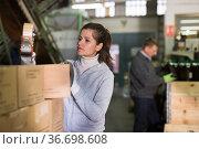 Female sealing carton boxes with sticky tape. Стоковое фото, фотограф Яков Филимонов / Фотобанк Лори