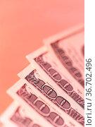 Close-up view of cash money euro and dollars bills background. Economy... Стоковое фото, фотограф Zoonar.com/BASHTA / easy Fotostock / Фотобанк Лори