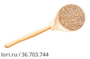 Top view of crushed rye groats in wood spoon isolated on white background... Стоковое фото, фотограф Zoonar.com/Valery Voennyy / easy Fotostock / Фотобанк Лори