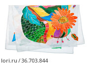 Folded silk scarf with floral ornament hand-drawn in cold contour... Стоковое фото, фотограф Zoonar.com/Valery Voennyy / easy Fotostock / Фотобанк Лори
