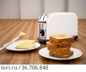 Butter and knife beside toaster and grilled bread. 3D illustration. Стоковое фото, фотограф Zoonar.com/Cigdem Simsek / easy Fotostock / Фотобанк Лори