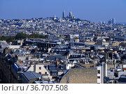 View of Paris with Basilique du Sacre Coeur, Paris France. Стоковое фото, фотограф Frederic Soreau / age Fotostock / Фотобанк Лори