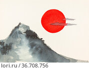 Mount and red sun hand-drawn by watercolors on embossed cream paper... Стоковое фото, фотограф Zoonar.com/Valery Voennyy / easy Fotostock / Фотобанк Лори