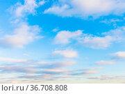 Many low clouds in blue sky in evening twilight in winter. Стоковое фото, фотограф Zoonar.com/Valery Voennyy / easy Fotostock / Фотобанк Лори
