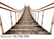 Old wooden suspended bridge isolated on white background. 3D illustration... Стоковое фото, фотограф Zoonar.com/Cigdem Simsek / easy Fotostock / Фотобанк Лори