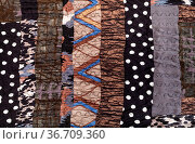 Pattern of handmade brown patchwork scarf from various stitched silk... Стоковое фото, фотограф Zoonar.com/Valery Voennyy / easy Fotostock / Фотобанк Лори