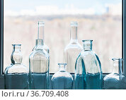 Many empty drunk bottles and view of city park through home window... Стоковое фото, фотограф Zoonar.com/Valery Voennyy / easy Fotostock / Фотобанк Лори