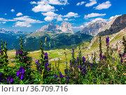 View over the Langkofel Group in the Dolomites. Стоковое фото, фотограф Zoonar.com/Fabio Lotti / easy Fotostock / Фотобанк Лори
