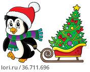 Christmas penguin with sledge image 1 - picture illustration. Стоковое фото, фотограф Zoonar.com/Klara Viskova / easy Fotostock / Фотобанк Лори