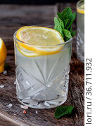 Gin Tonic mit Zitrone in Scheiben und frischen Minzblaettern. Стоковое фото, фотограф Zoonar.com/Barbara Neveu / easy Fotostock / Фотобанк Лори