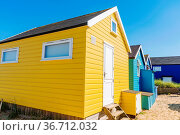 Close up of colorful beach huts on a sunny day. Стоковое фото, фотограф Zoonar.com/Gabriel Murad / easy Fotostock / Фотобанк Лори