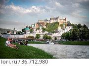 Idyllic panoramic city landscape of Salzburg in Summer. Стоковое фото, фотограф Zoonar.com/Patrick Daxenbichler / easy Fotostock / Фотобанк Лори