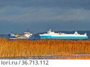 Sea ferry and special vessel on the Gulf of Finland of the Baltic Sea. Стоковое фото, фотограф Zoonar.com/Maximilian Buzun / easy Fotostock / Фотобанк Лори