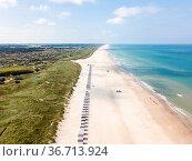 Lokken, Denmark - July 18, 2019: Aerial drone view of Lokken Beach... Стоковое фото, фотограф Zoonar.com/Oliver Foerstner / easy Fotostock / Фотобанк Лори
