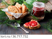 Fresh bread with blueberry jam and fruits on a rustic table. Стоковое фото, фотограф Zoonar.com/Photographer: Andrey N.Cherkasov / easy Fotostock / Фотобанк Лори