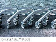Row of supermarket karts tidy put together. Стоковое фото, фотограф Zoonar.com/Baloncici / easy Fotostock / Фотобанк Лори