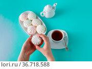 Women pick pastel colored marshmallow for breakfast. Стоковое фото, фотограф Zoonar.com/Photographer: Andrey N.Cherkasov / easy Fotostock / Фотобанк Лори
