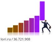 Businessman supporting economic growth on chart. Стоковое фото, фотограф Elnur / Фотобанк Лори