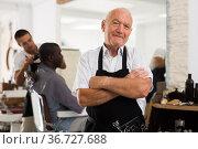Professional aged barber. Стоковое фото, фотограф Яков Филимонов / Фотобанк Лори